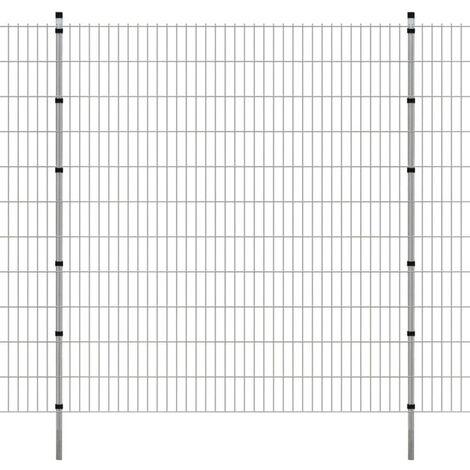 2D Garden Fence Panels & Posts 2008x2230 mm 40 m Silver
