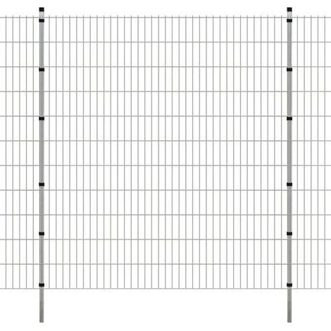 2D Garden Fence Panels & Posts 2008x2230 mm 42 m Silver