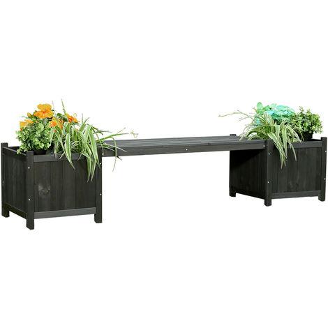 2en1 banc de jardin noir + 2 pots de fleurs banc bois, planteur, banc de jardin en bois
