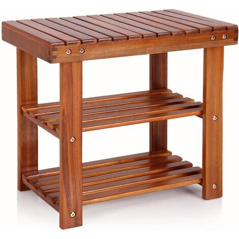 2en1 Meuble à chassures et banc en bois d\'acacia dur et robuste 90/70/50cm étagère à chaussures 2 tablettes avec banc rangement armoire