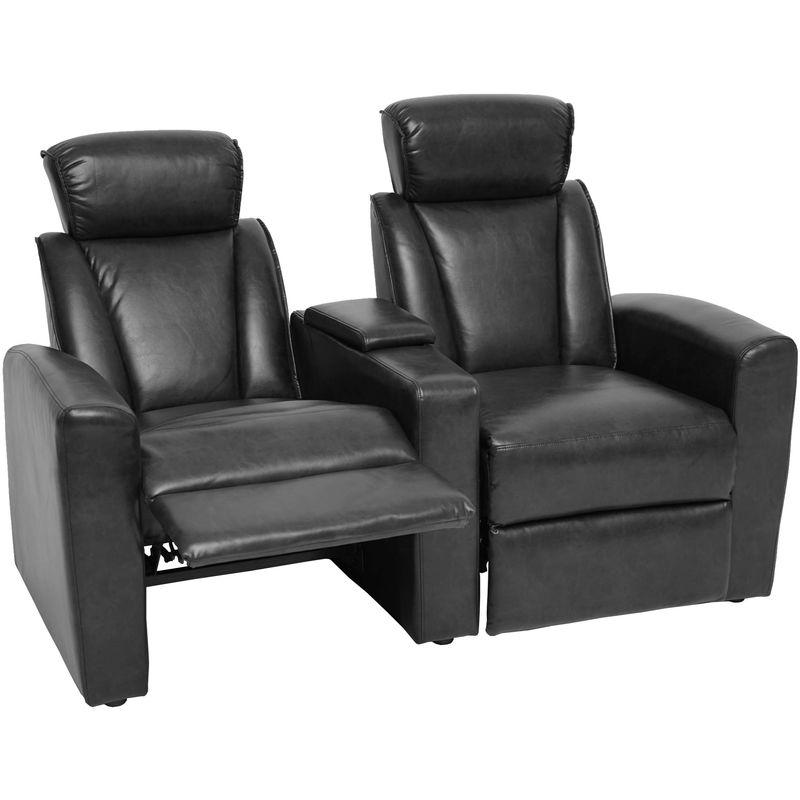 2er Kinosessel HHG-837, Relaxsessel Fernsehsessel Zweisitzer Sofa, Fach Getränkehalter Soft Touch Kunstleder ~ schwarz