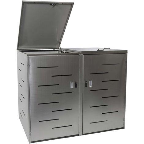 2er-Mülltonnenverkleidung HHG-805, Mülltonnenbox Mülltonnenabdeckung, erweiterbar 108x61x76cm