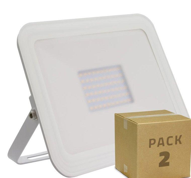 2er Pack LED Strahler Slim Glas 100W Weiß (2St.) Warmes Weiß 3000K