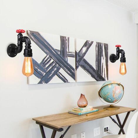 2er Pack Retro Industrial Wandleuchte Creative Tube Wandleuchte Rohr E27 Nachttisch Wandlampe Vintage Wandlampe