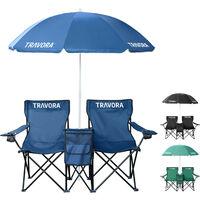 2er Partner Campingstuhl mit Sonnenschirm und Kühlfach in versch. Farben