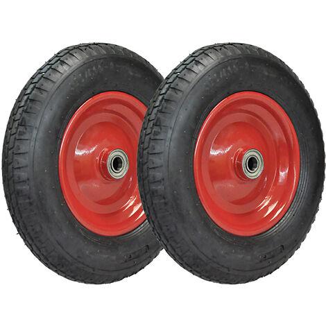2er Satz Räder für Schubkarren Reifen Komplett Rad 4.80/4.00-8 luftbereift auf Stahlfelge