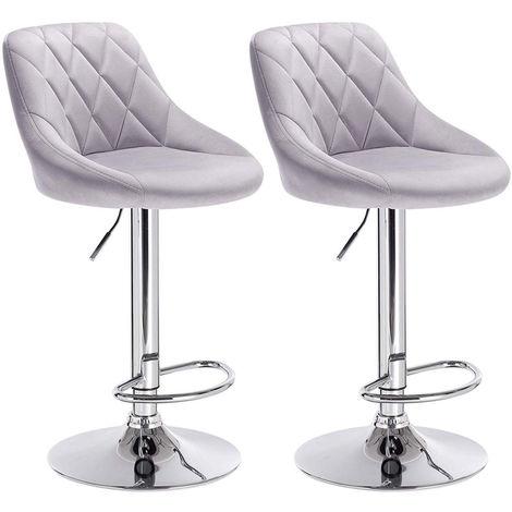 2er-Set Barhocker mit gepolsterter Sitzfläche aus Samt