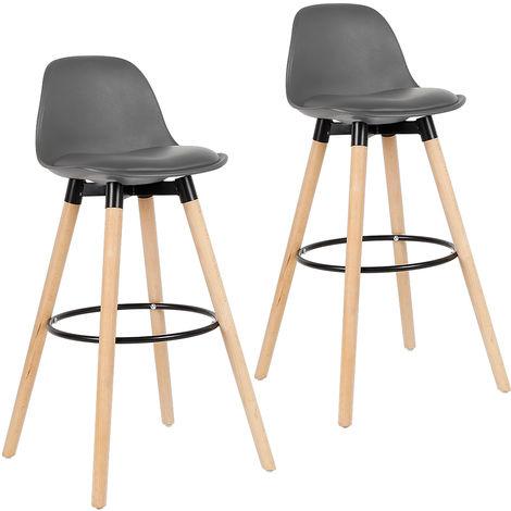 2er Set Barhocker mit Lehne| Barstuhl mit eckigem Eichenholzgestell und Fußstütze | Retro Design Grau