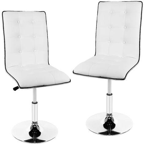2er-Set Barhocker mit Lehne| Leder Barhocker |Höhenverstellbar, 360° frei drehbar weiß