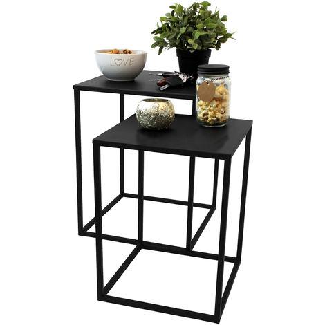 2er Set Beistelltische 30x30cm / 35x35cm Schwarz - Couchtisch Telefontisch Nachttisch Blumentisch Serviertisch