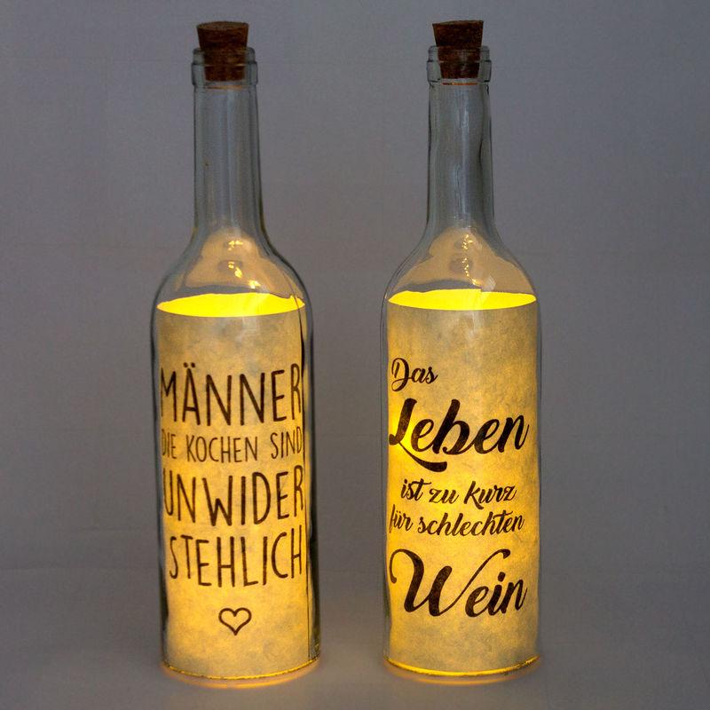 Flasche mit LED Beleuchtung, Timerfunktion, Dekoflasche