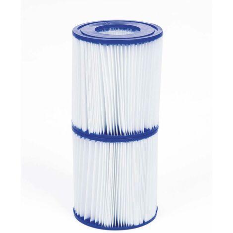 2er Set Filterkartuschen Typ 2 für Poolpumpe - Ø10,6x13,6cm kompatibel mit Côme, Vostok 4x2m, Vostok 5x2m, Spinelle 4x2m, Peridot, Onega, Opalite Rattan, Aral et Onega Palmier Schwimmbecken