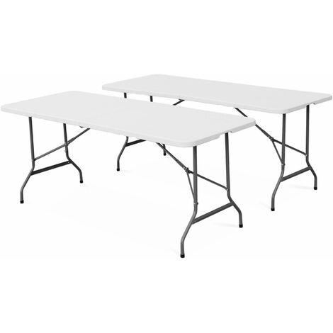 2er Set Klappbarer Empfangstisch aus Kunststoff Weiß 180 cm