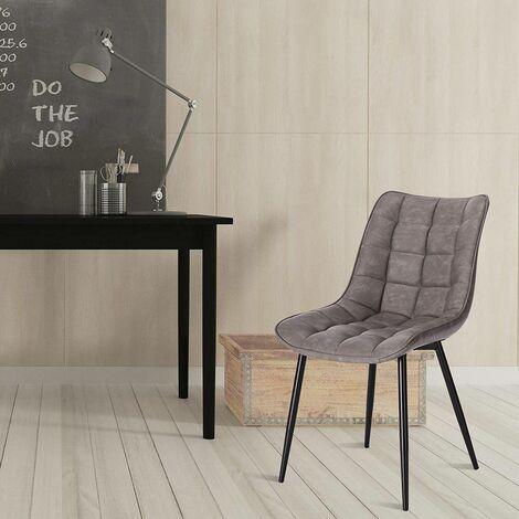 2er-Set Küchenstühle aus Kunstleder Elif dunkelgrau