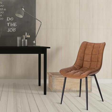 2er-Set Küchenstühle aus Kunstleder Elif hellbraun