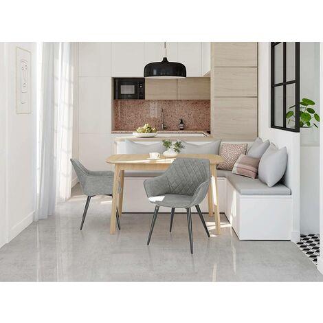 2er-Set Küchenstühle aus Kunstleder grau