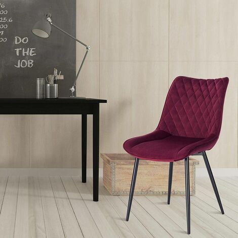 2er-Set Küchenstühle aus Samt Modell bordeaux