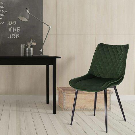 2er-Set Küchenstühle aus Samt Modell dunkelgrün