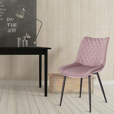 2er-Set Küchenstühle aus Samt Modell rosa