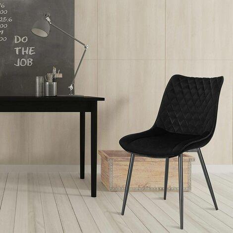 2er-Set Küchenstühle aus Samt Modell schwarz