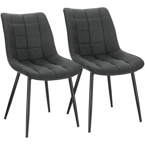 2er-Set Küchenstühle aus Stoffbezug Metallbeine Elif