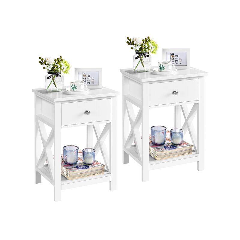 2er Set Nachttisch Holz Beistelltisch mit Schublade und Ablage Couchtisch für Wohnzimmer und Schlafzimmer, Weiß - YAHEETECH