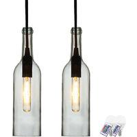 2er Set RGB LED Flaschen Hängelampen aus klarem Glas VT-7558