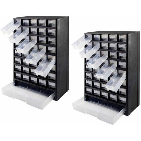 2er Set Sortimentskasten Kleinteilemagazin Sortierkasten 41 Fächer Kleinteile
