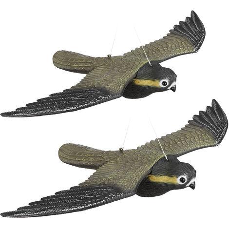 2er Set Vogelschreck Falke, fliegender Greifvogel als Vogelscheuche, Raubvogel Attrappe, Vogel lebensgroß, mehrfarbig