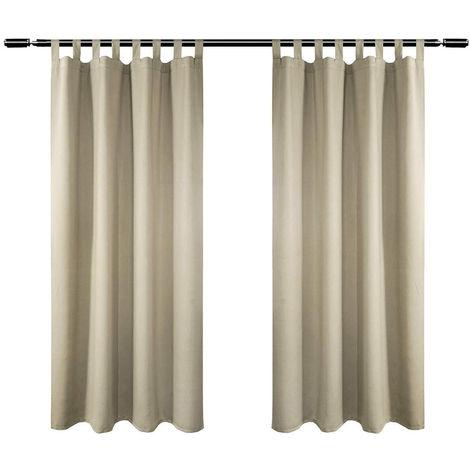 2er Set Vorhang Blickdicht mit 8 Schlaufen und Raffhalter ...