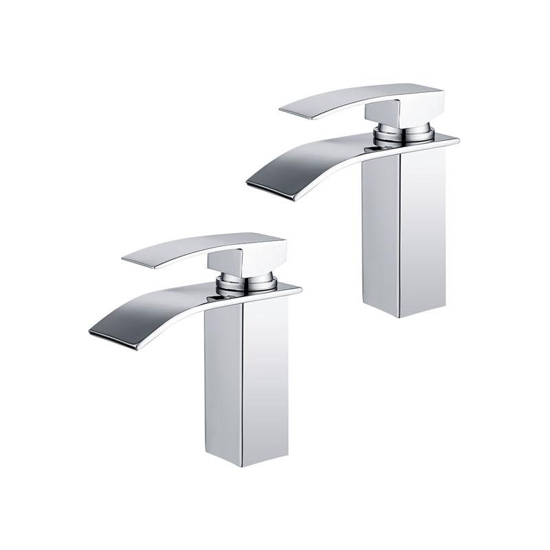 2er Wasserfall Wasserhahn Chrom Einhebel-Waschtischarmaturen Bad Armatur  für Badezimmer Waschbecken