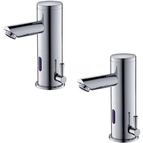2er Wasserhahn Bad Automatischer Waschbecken-Mixer mit Infrarot-Toiletten Hahn-Elektronik