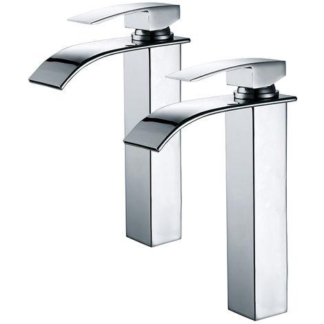 2er Wasserhahn Bad Chrom Einhebelmischer Waschtischarmaturen mit Hoher Wasserfall Auslauf für Badezimmer Waschbecken