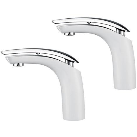 2er Weiß Chrom Badarmatur Waschtischarmatur Hochdruck Wasserhahn Bad Armatur Waschbecken Mischbatterie Einhebelmischer f. Badezimmer