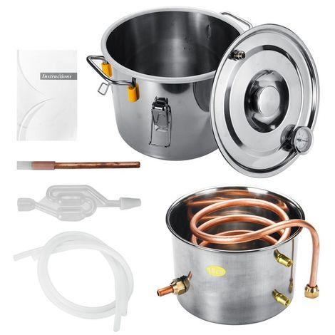 2GAL / 10L cuivre Moonshine éthanol alcool distillateur d'eau encore chaudière en acier inoxydable Sasicare