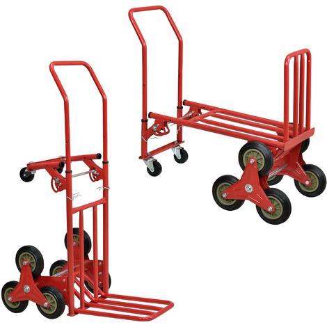 2in1 Chariot de Transport et Diable Multifonctionnel Acier Rouge 118,5 x 50 x 71 cm