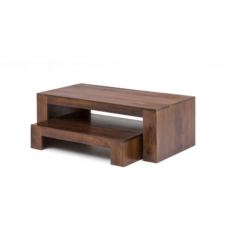 2in1 Couchtisch TV Board Akazie massiv Fernsehschrank Beistelltisch Tisch A00000311 - INDEX-LIVING