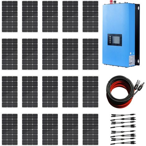 2KW Grid Tie System 20 * 100W Solar Panel + 2KW 220V Pure Sine Inverter for Home