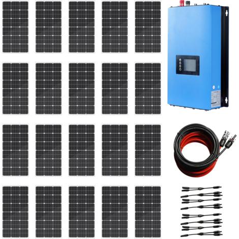 2KW Grid Tie System 20*100W Solar Panel + 2KW 220V Pure Sine Inverter for Home