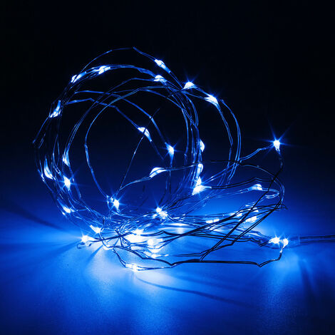 2M 20 LED String Lights Wire String Copper Part Battery Button Operated Xmas A