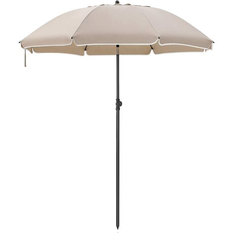 2m Arc Diameter Parasol, Beach Umbrella, Sun Protection, Octagonal Canopy, Tilt Mechanism, Air Vent, Carry Bag, for Beach, Gardens, Balcony and Pool, Taupe GPU65BRV1 (Base Not Included)