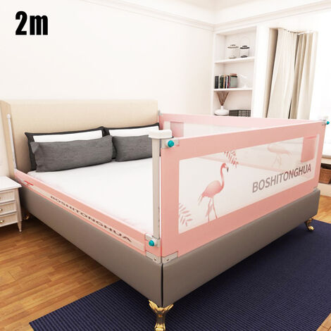 2m Baby Bed Rail for Toddlers Fold Down Children's Anti-fall Bed Guardrail pink