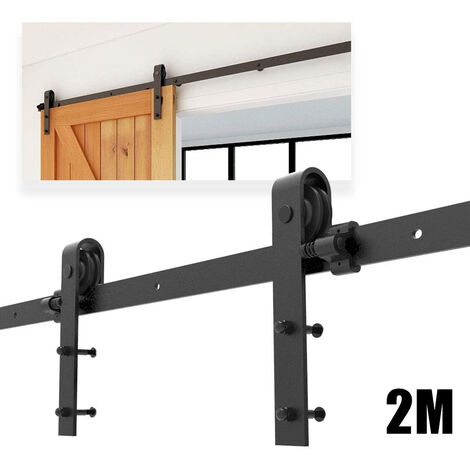 2M Barn Pulley Door Hardware Kit Sliding Track Steel Slide Track Rail Door Antique Style Sliding Door Black for Flat Sliding Panel Wood Single Door Closet Cabinet