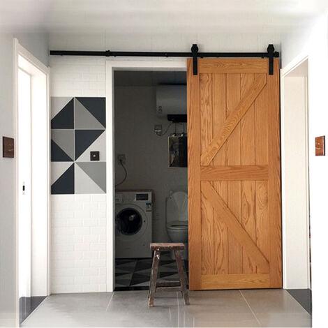 2M Black Barn Pulley Door Hardware Kit Sliding Track Steel Slide Track Rail Door Antique Style Sliding Door for Flat Sliding Panel Wood Single Door Closet Cabinet