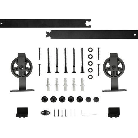 2M kit de accesorios de riel para puerta corrediza, puerta corrediza de granero, negro - suspensión de rueda grande en forma de T