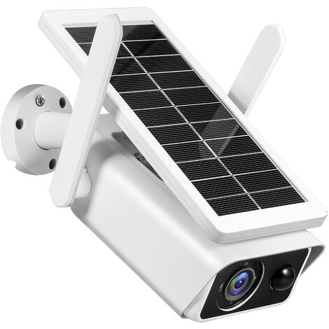 """main image of """"2MP Outdoor Solar Security Camera Wireless WiFi 1080P Full High Definition Home Surveillance Camera with PIR Motion Detection, Night Vision, 2-Way Audio, IP66 Waterproof with 2pcs Rechargeable Battery,model:White"""""""