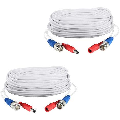 2pack blanca de 60 pies /18.3M 2-en-1 cable de alimentacion del enchufe del cable de extension video bnc CCTV para las camaras del sistema de seguridad casero de la vigilancia DVR