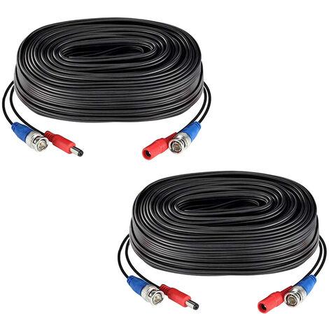 2pack Negro 60 pies /18.3M 2-en-1 Suministro de energia del cable de video cable BNC del CCTV de extension para las camaras del sistema de seguridad casero de la vigilancia DVR