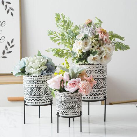 2Pc/Set Ceramic Plant Decor Vase Stand + Iron Rack Garden Home Flower Pot Holder