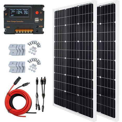 2pcs 100W panneau solaire + régulateur intelligent 20A hors kit de grille pour la voiture de la maison RV